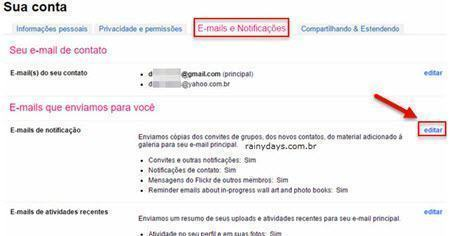 desativar notificações por email do Flickr