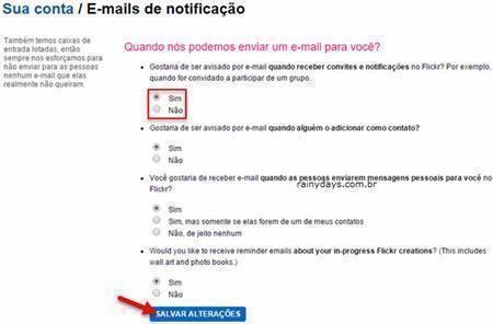 desativar notificações por email do Flickr 2