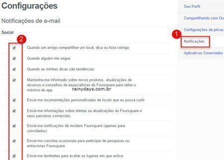 Desativar notificação por email no Foursquare