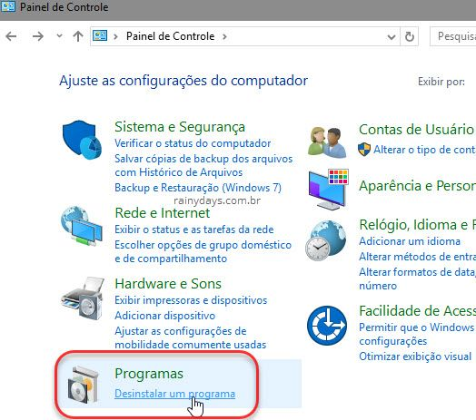 desinstalar um programa no Windows