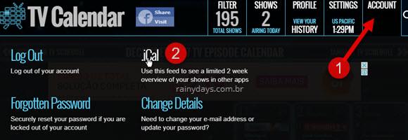 download do iCal TV Calendar para Google Agenda