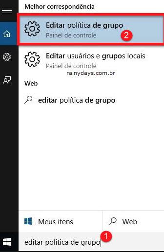 Editar política de grupo Windows