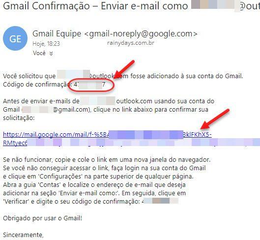 email de confirmação adicionar endereço no Gmail
