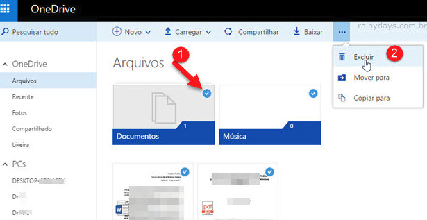 Excluir arquivos do OneDrive online