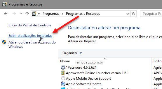 Exibir atualizações instaladas no Windows