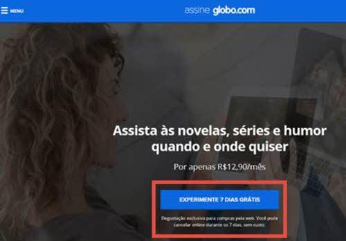 Experimente 7 dias grátis GloboPlay