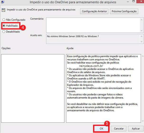 Habilitado impedir uso do OneDrive para armazenamento de arquivos