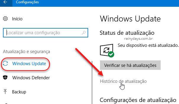 histórico de atualização do Windows