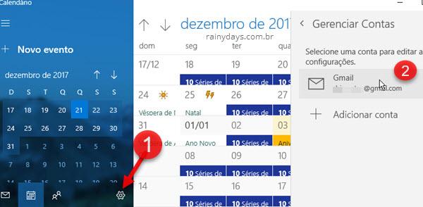ícone engrenagem Gerenciar Conta Gmail Calendário Windows