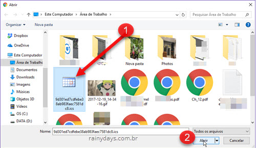Importar arquivo iCal Google Agenda