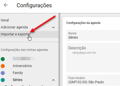 Importar e exportar agenda Google Agenda