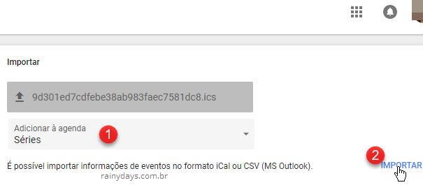 importar iCal Adicionar agenda Google