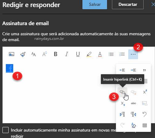Inserir hiperlink assinatura do Outlook web