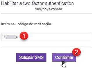 inserir código verificação duas etapas Twitch