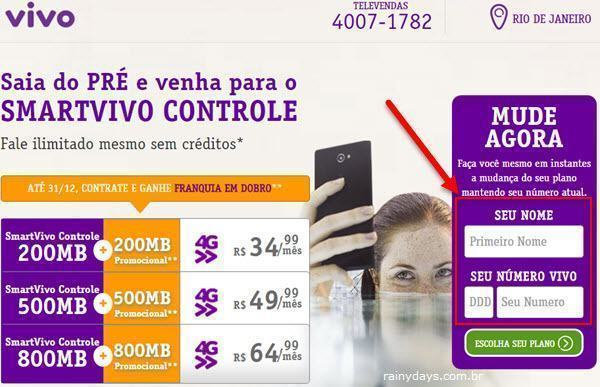 Mudar Plano SmartVivo Controle Online