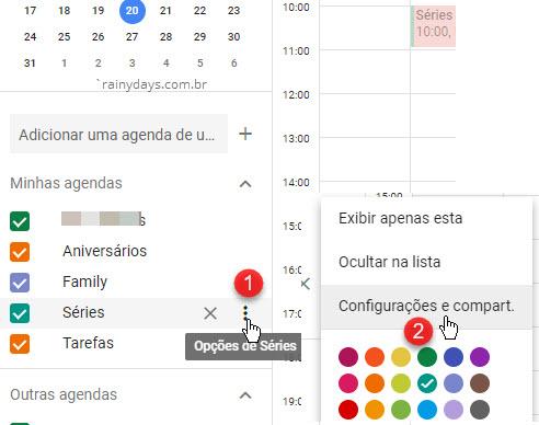 Opções de agenda configurações e compart Google Agenda