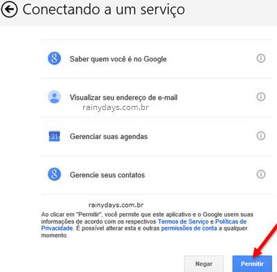 Permitir Calendário Windows conectar Google Agenda
