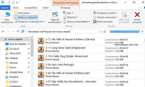 Resultado de pesquisa Windows por tamanho Explorador de Arquivos