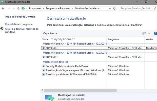 Todas atualizações instaladas no Windows