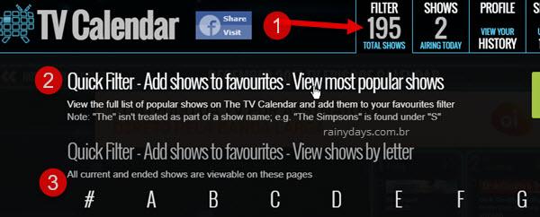 TV Calendar adicionar seriados aos favoritos