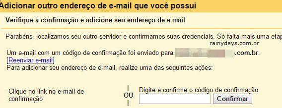 Verifique e confirmação e adicione endereço email Gmail