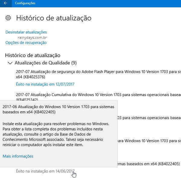 Visualizar todas atualizações do Windows