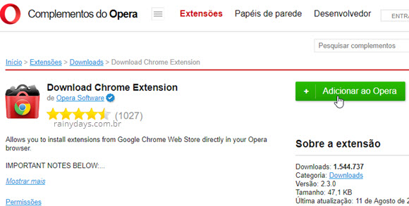 Adicionar ao Opera download chrome extension