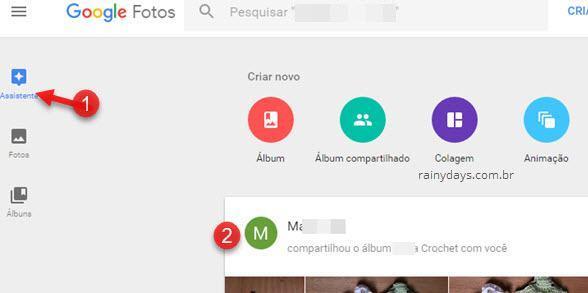 assistente álbum compartilhado Google Fotos