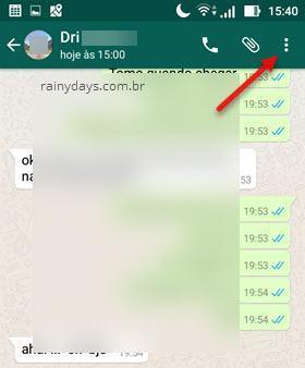 Botão de três bolinhas WhatsApp dentro da conversa