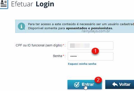 Efetuar login CPF ID funcional senha Rioprevidência