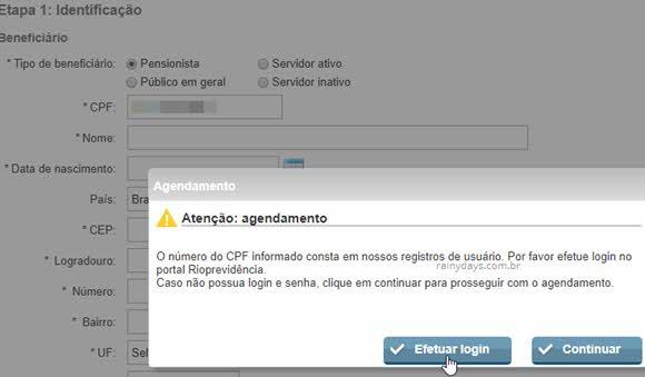 Efetuar login Rioprevidência para preencher formulário