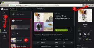 Atalhos de teclado para Spotify