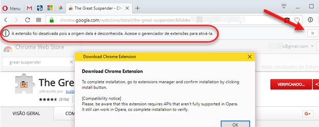 Extensão Chrome desativada origem desconhecida