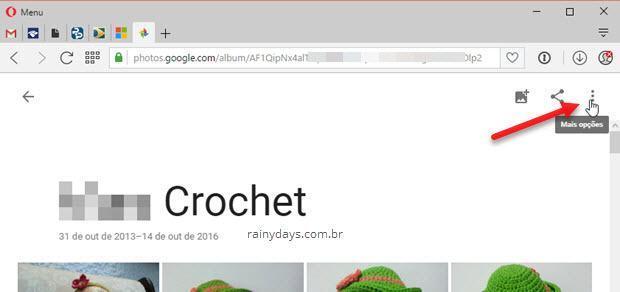 ícone de três bolinhas Google Fotos web