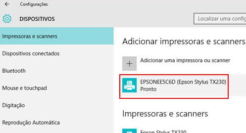 impressoras e scanner Windows prontos