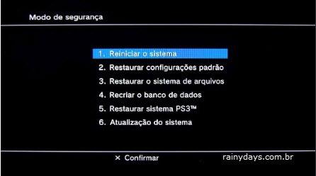 Como iniciar PS3 em modo de segurança, opções Playstation 3
