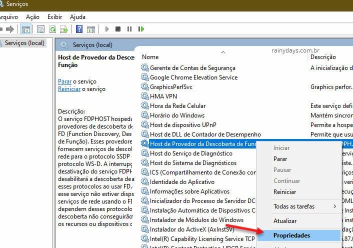 Propriedades serviços Host de Provedor de Descoberta de Função para compartilhar impressora USB
