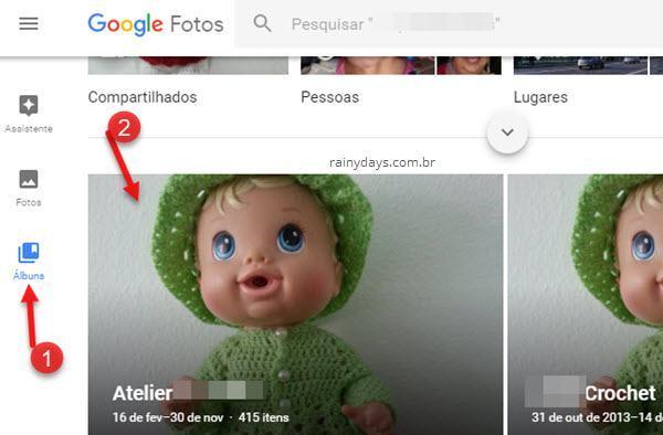 selecionar álbuns no Google Fotos