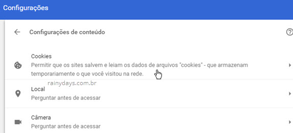 Como apagar cookies de sites específicos no Chrome