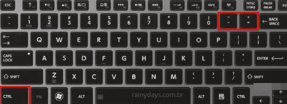 Aumentar e diminuir zoom de páginas usando teclado