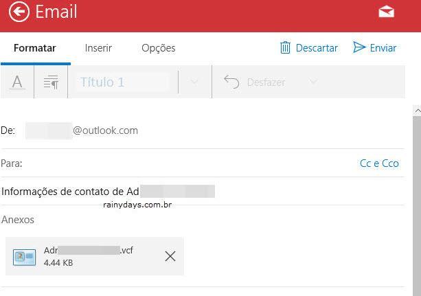 compartilhar contato vcf do Pessoas por email