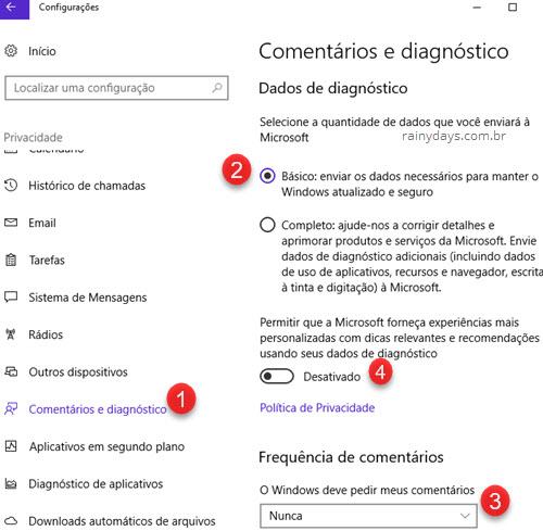 Como desativar o Windows Feedback no Windows 10