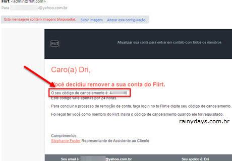 Email Flirt código de cancelamento