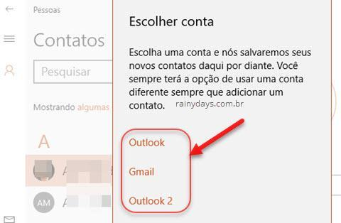 Escolher conta para salvar nos contatos app Pessoas