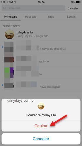 esconder Sugestões do Instagram no iPhone 2