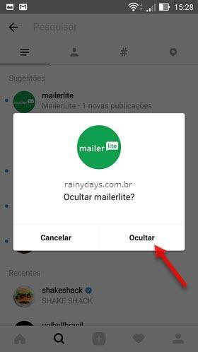 esconder sugestões Principais Instagram no Android 2