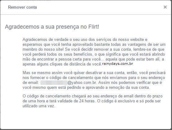 excluir conta do Flirt.com