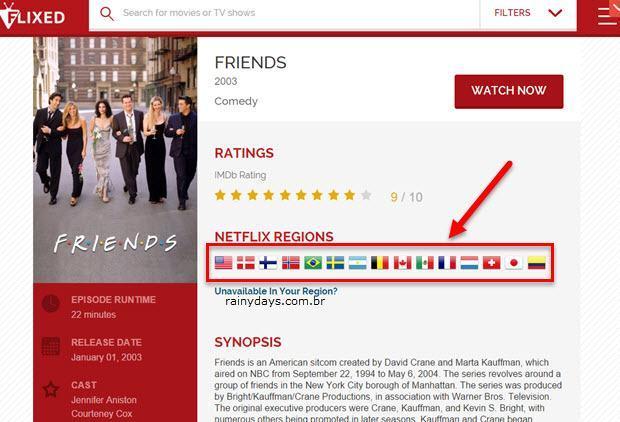 Fazer buscas em todos Netflix do mundo