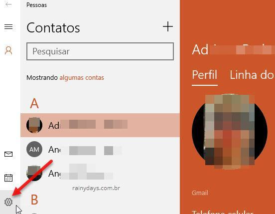 ícone da engrenagem no app Pessoas