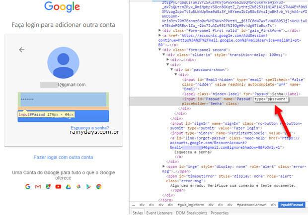Modificar input type password mostrar senhas escondidas asterisco